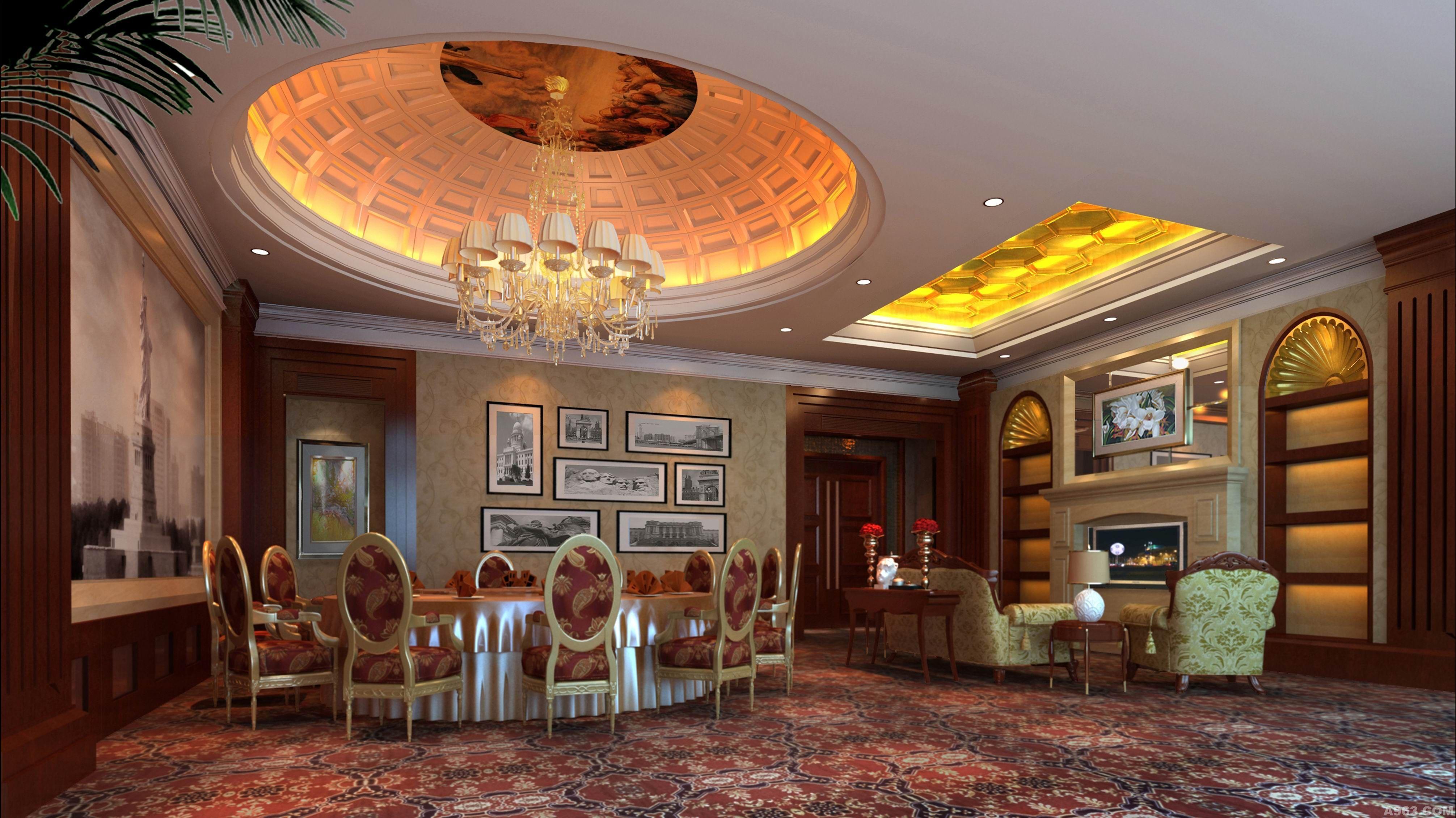 饭店包厢手绘背景
