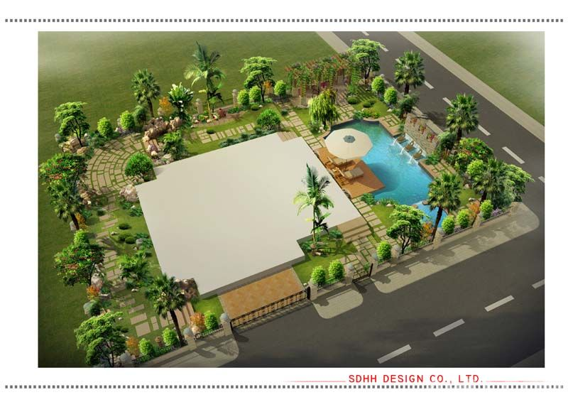 南寧庭院設計 溫泉別墅花園01