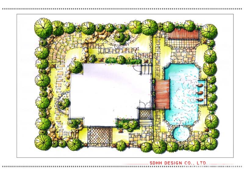 作品類別:景觀      南寧庭院設計 溫泉別墅花園說明: 南寧庭院