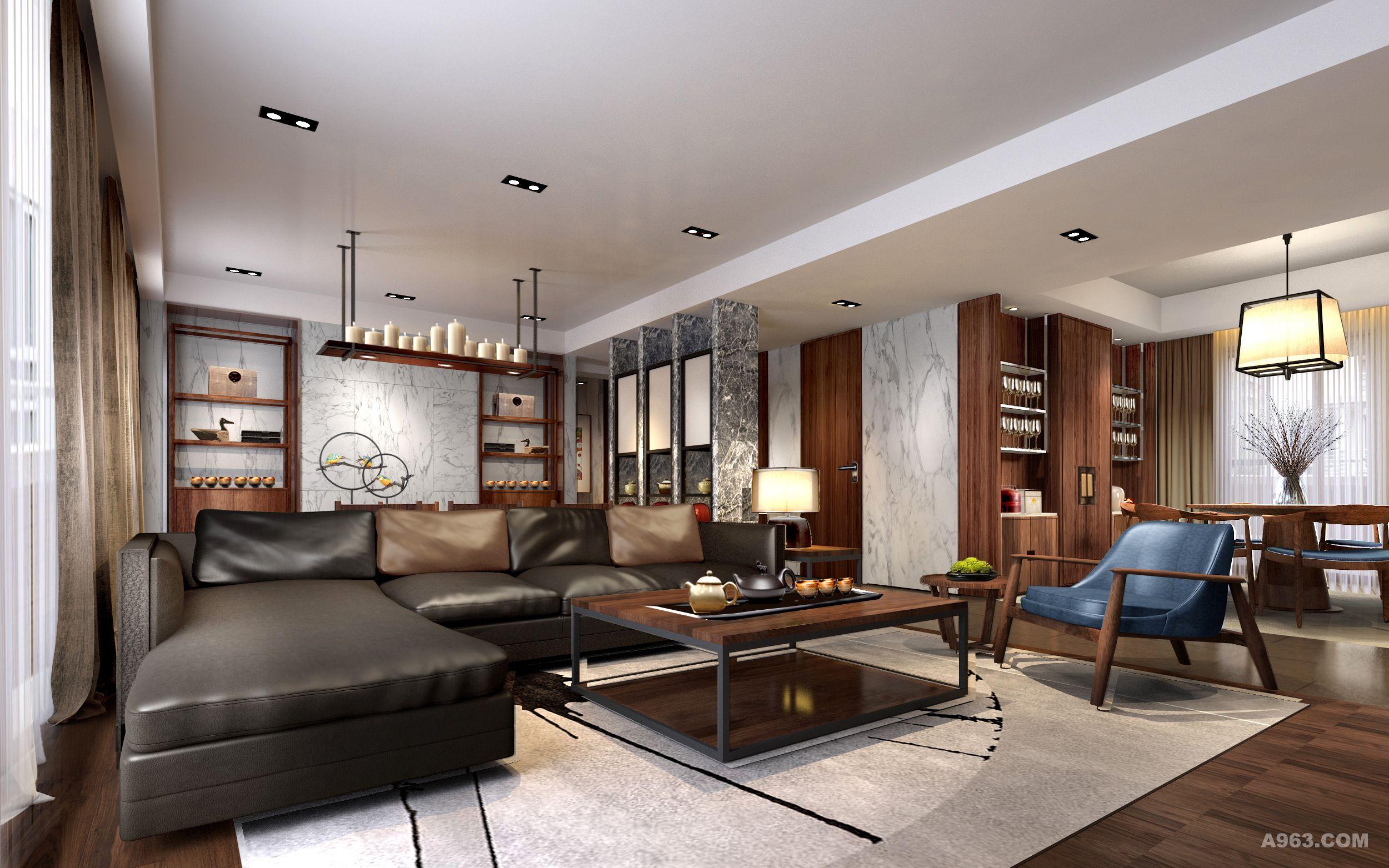 所以整个空间以实木为主,实木柜子,木地板,家具和灯具则选择时尚现代